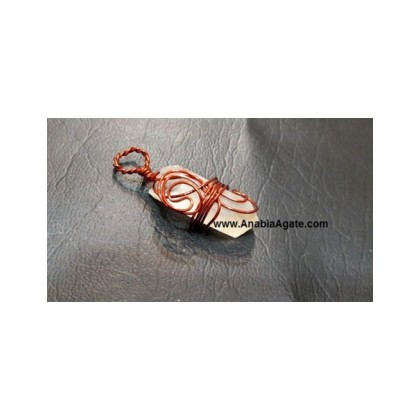 Crystal Quartz Copper Wire Wrapped Pencil Pendant