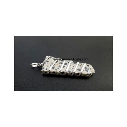 Dalmatian Jasper Flat Stick Wire Wrapped Pendant