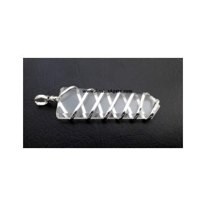 Crystal Quartz Flat Stick Wire Wrapped Pendants