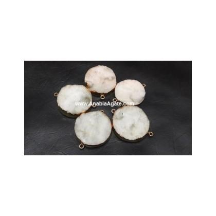 White Agate Round Druzy Connector
