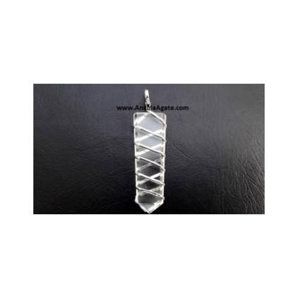 Crystal Quartz Flat Stick Wire Wrapped Pendant