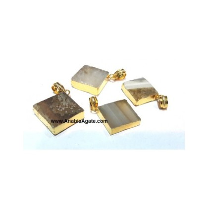 Agate Square Electroplated Pendants