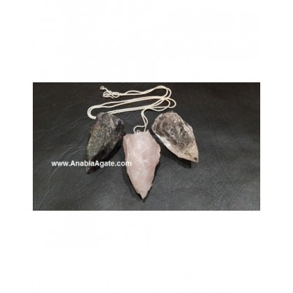 Mix Gemstone Raw Pendant With Silver Chain