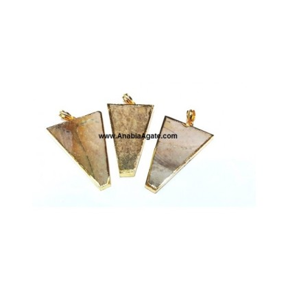 Agate Triangle Electroplated Pendants