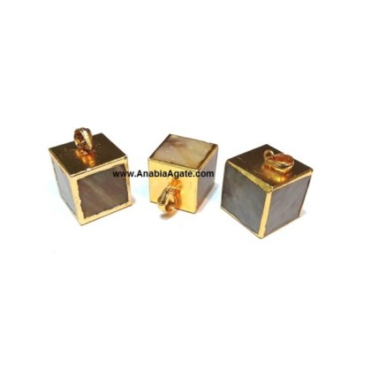 Agate Cube Golden Electroplated Pendants