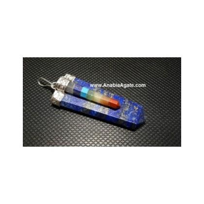 Lapiz Lazuli Flat Stick Pendant With Chakra Bonded Pencil