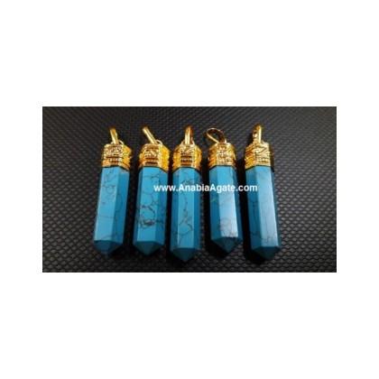 Turquoise Golden Cap Pencil Pendants