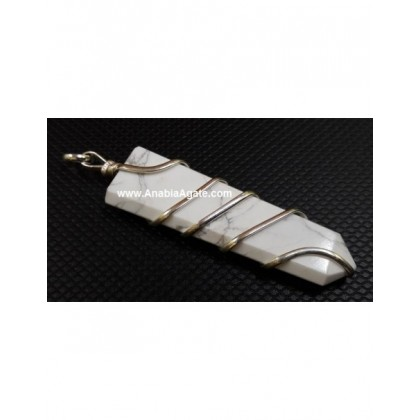 Howlite Wire Wrapped Flat Stick Pendant
