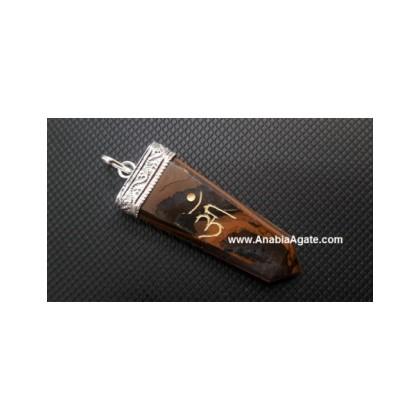 Tiger Eye Engraved OM Flat Stick Pendant