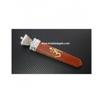 Goldstone Engraved OM Flat Stick Pendant