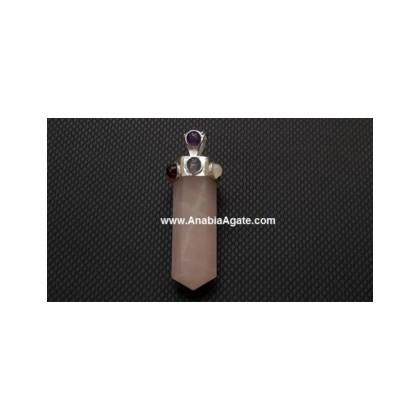 Rose Quartz Chakra Pencil Pendant
