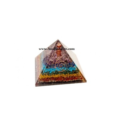 7 Chakra Layer Pyramid With Crystal Point