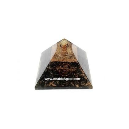 Black Tourmaline Orgone Pyramid With Crystal Point