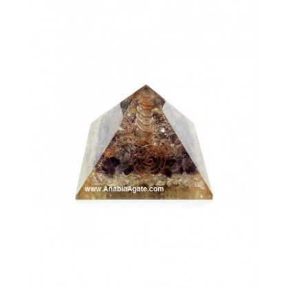 Amethyst, Crystal Orgone Pyramid With Crystal Quartz Point