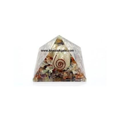 Mix Gemstone Orgone Shell Pyramid (50mm-60mm)