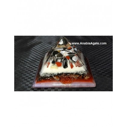 Color Layered Mix Gemstone Tumble Orgone Pyramid