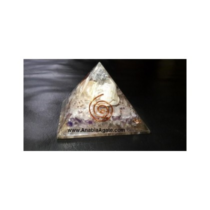 Orgone Mix Gemstone Shell Pyramid With Silver Shimmer On Top (50mm-60mm)