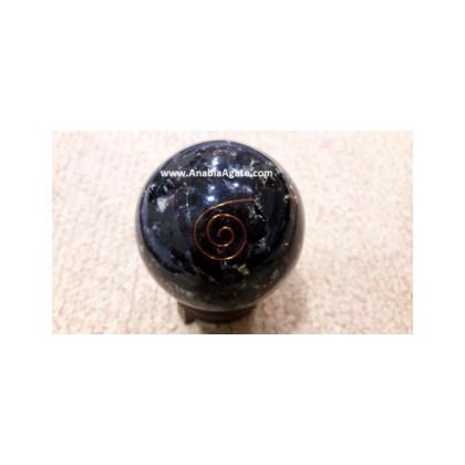 Black Tourmaline Orgone Balls With Copper Wire (65mm)