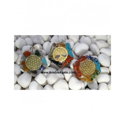 Mix Chakra Orgone Pendants With Metal Symbols