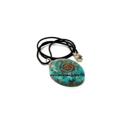 Tourquise Orgone Oval Pendant With Cord