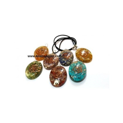 Chakra Orgone Pendant Set With Copper Wire And Cord