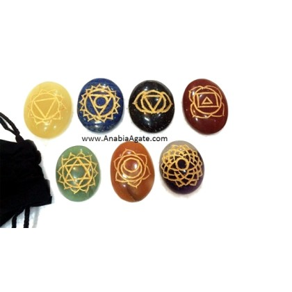 CHAKRA ENGRAVED OVAL SET WITH POUCH