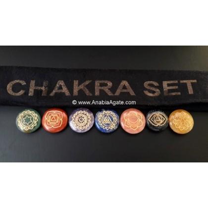 CHAKRA ENGRAVED DISC SET WITH VELVET PURSE DESIGN-C