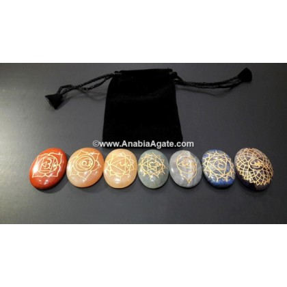 CHAKRA & SANSKRIT ENGRAVED OVAL SET WITH POUCH