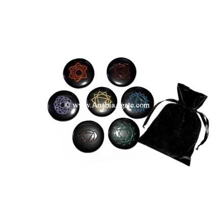 BLACK AGATE COLORFUL CHAKRA ENGRAVED DISC SET