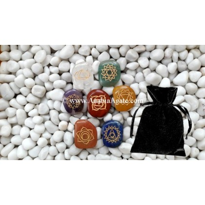 CHAKRA ENGRAVED PALM-STONE SET WITH CRYSTAL