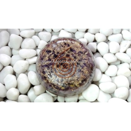 AMETHYST ORGONE DOME WITH METAL SYMBOL