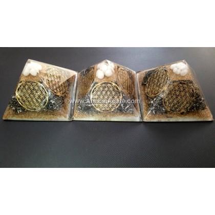 Orgone Flower Of Life Symbols Pyramid With Snow Quartz Tumble (80-85mm)
