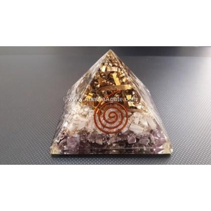 Amethyst And Rose Quartz Orgone Pyramid With Copper