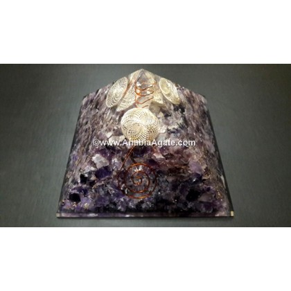 AMETHYST ORGONE BIG PYRAMID WITH WIRE WRAP CRYSTAL POINT AND GOLDEN CAGE