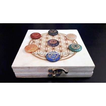 CHAKRA ENGRAVED DISC SET WITH WOODEN BOX