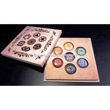 CHAKRA HOLLOW LASER ENGRAVED BOX WITH CHAKRA ENGRAVED DISC SET
