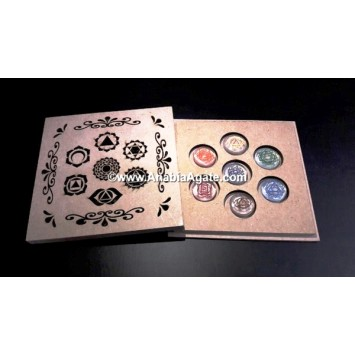 CHAKRA HOLLOW LASER ENGRAVED BOX WITH COLORFUL CRYSTAL CHAKRA DISC SET