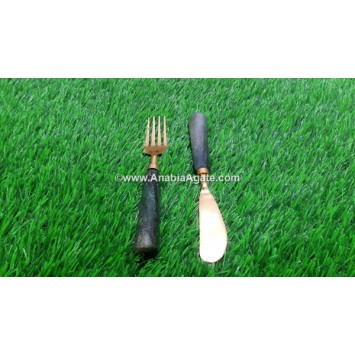 GREEN AVENTURINE BUTTER KNIFE & FOLK SET OF 2 PC