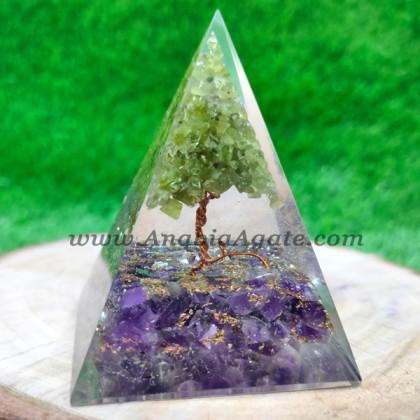 Amethyst & Green Aventurine Orgone Pyramid with Tree Inside