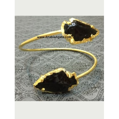 BLACK OBSIDIAN 1INCH ARROWHEAD BANGLE