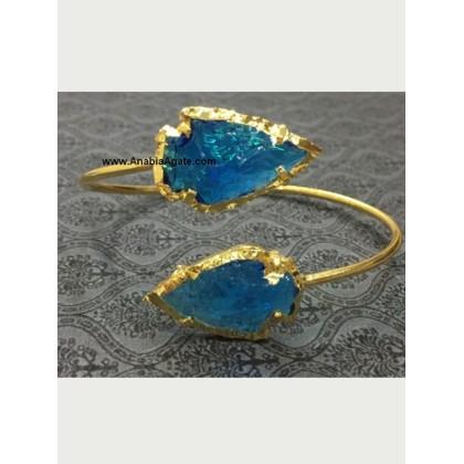 BLUE COLOR GLASS 1INCH ARROWHEAD BANGLE