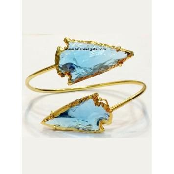 BLUE COLOR GLASS 2INCH ARROWHEAD BANGLE