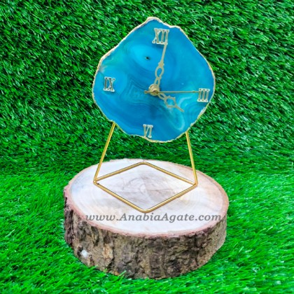 Blue Onyx Agate Coaster Watch with Stand
