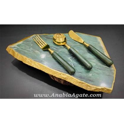 Green Aventurine Platter with 3 Pieces Cutlery Set