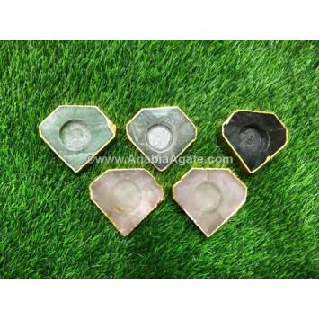 MIX GEMSTONE DIAMOND SHAPE CANDLE HOLDER