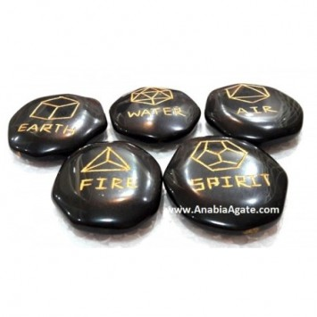 BLACK JASPER COMPLEX GEOMETRY PALMSTONE SET