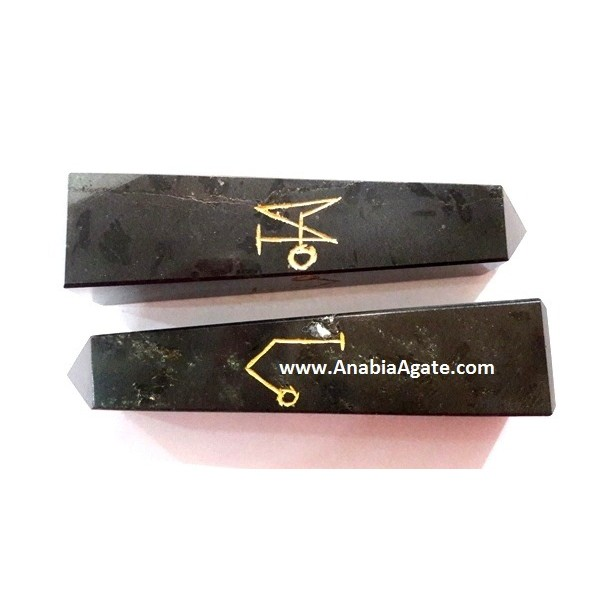 BLACK JASPER ARCH ANGLE ENGRAVE TOWER