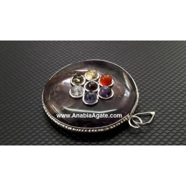 Amazonite Chakra Disc Pendant With Chakra Cabs
