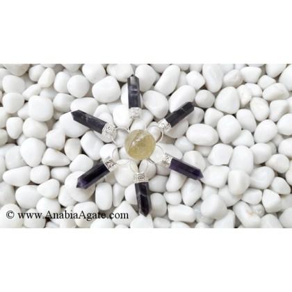 AMETHYST PENCIL ENERGY GENERATOR WITH CRYSTAL QUARTZ SMALL BALL