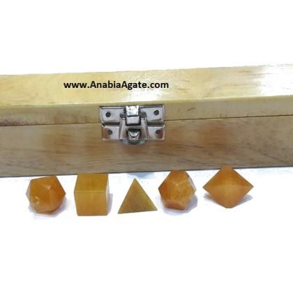 YELLOW AVENTURINE 5PCS GEOMETRY SET WITH WOODEN BOX